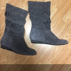 7 For All Mankind Gray Suede Boots